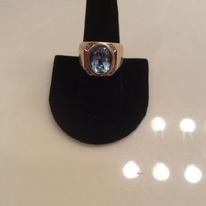 Other - Men's 14k Diamond & Aquamarine Ring